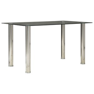 Contemporary Rectangular Dining Table with Glass Top