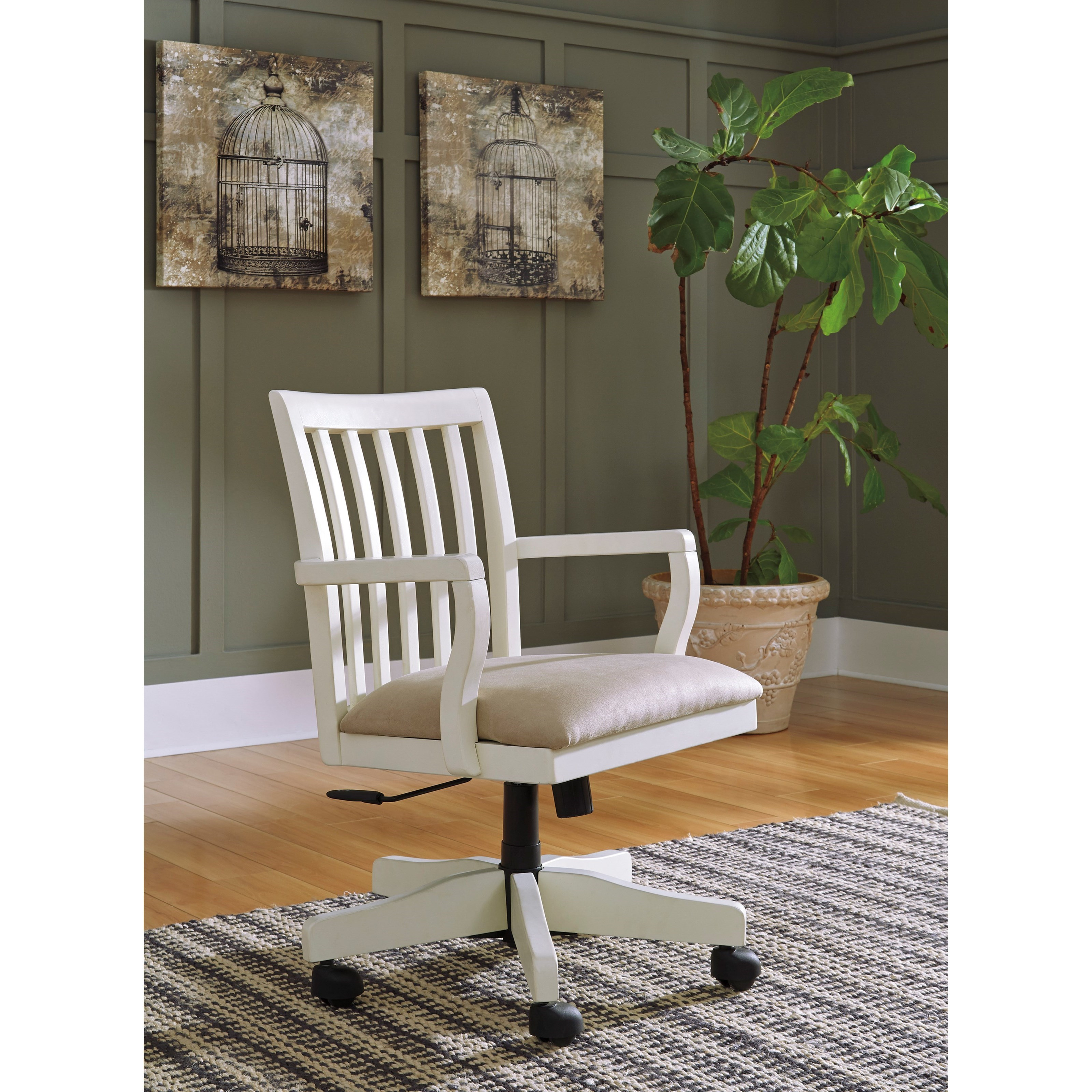 Solid Wood Home Office Desk Chair in Cream Finish by Signature ...