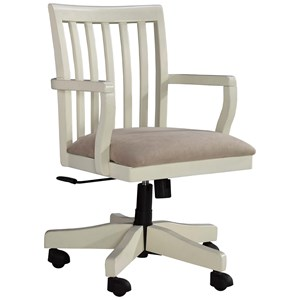 Solid Wood Home Office Desk Chair in Cream Finish