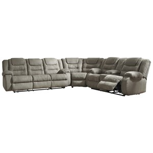 Casual 3-Piece Reclining Sectional