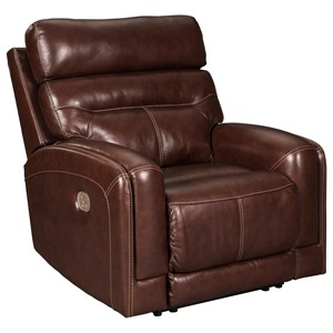 Leather Match Power Recliner with Adjustable Headrest