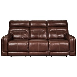 Leather Match Power Reclining Sofa w/ Adjustable Headrests and Power Lumbar