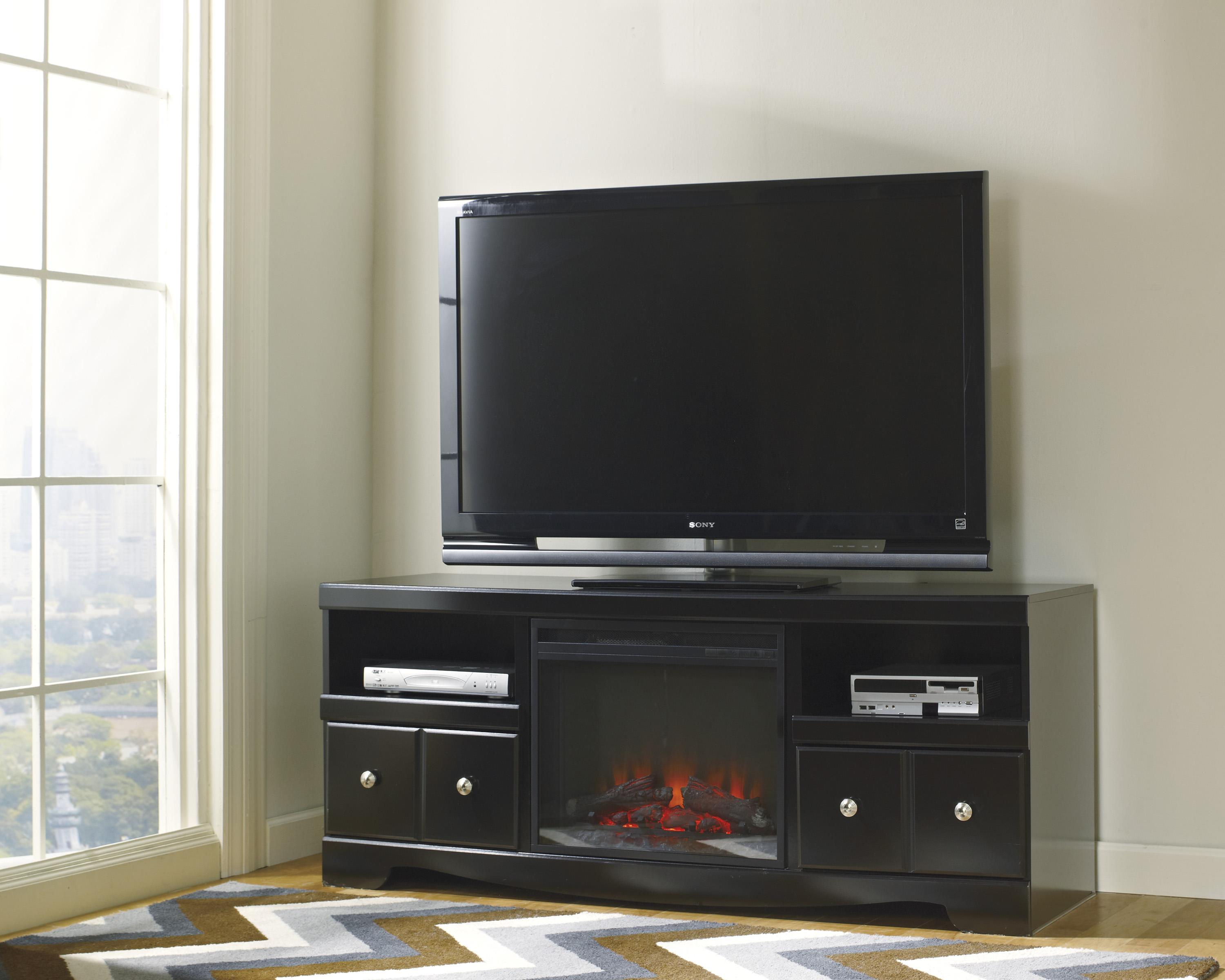 large contemporary tv stand with fireplace by signature design by