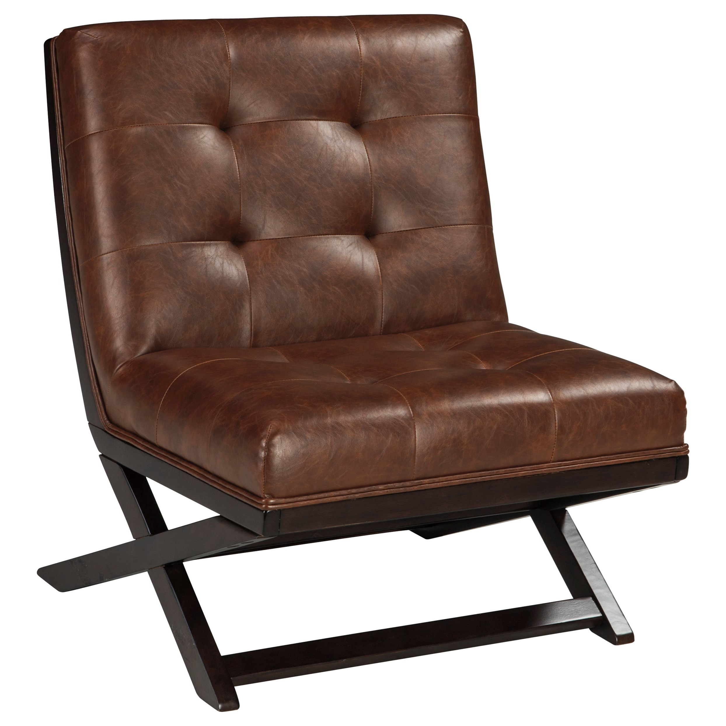 Wood X Base Armless Accent Chair With Brown Faux Leather