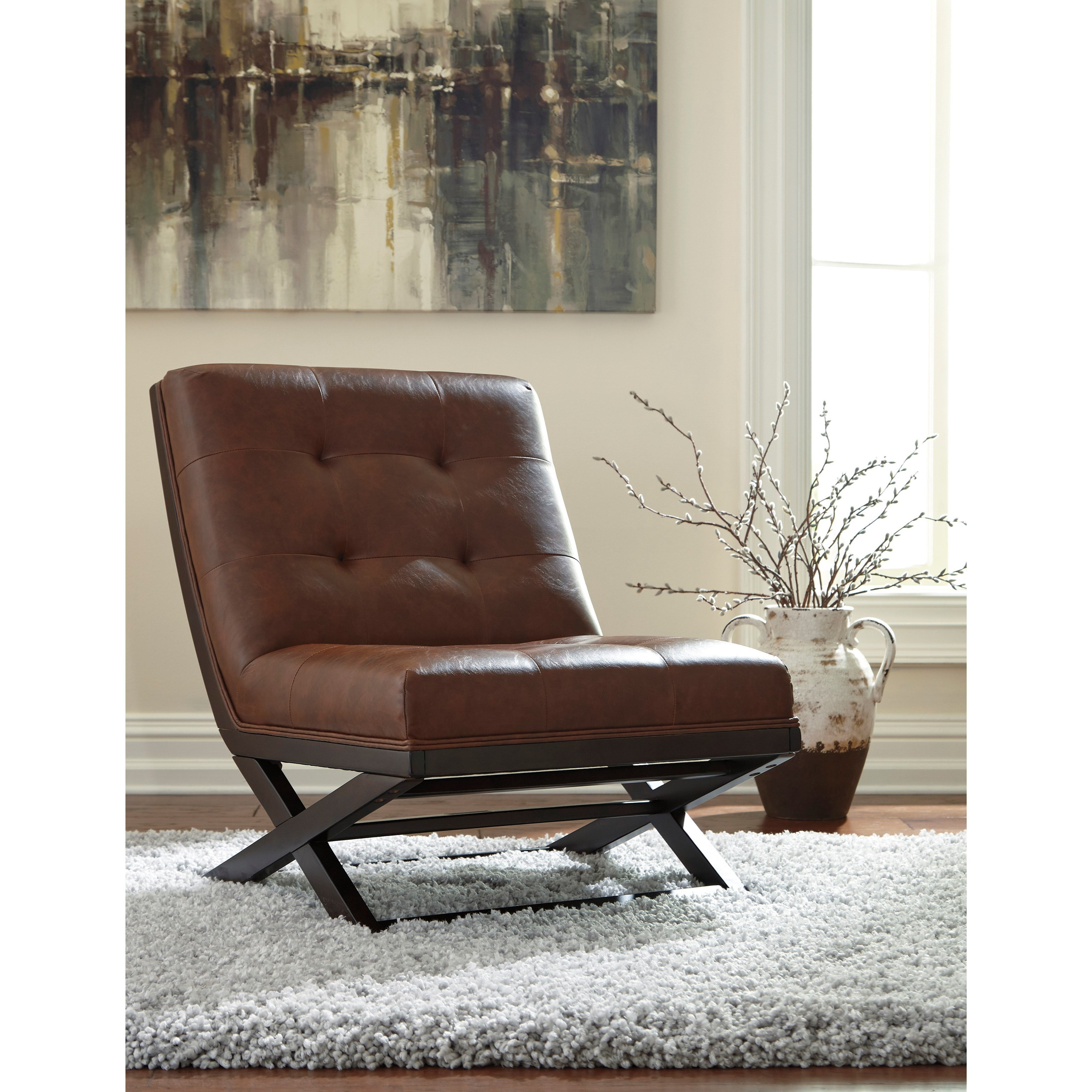 Pleasing Wood X Base Armless Accent Chair With Brown Faux Leather By Alphanode Cool Chair Designs And Ideas Alphanodeonline