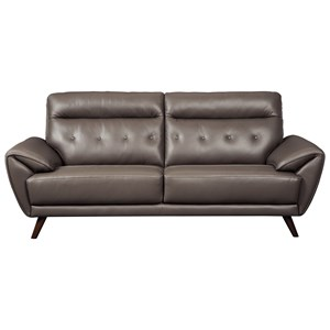Contemporary Leather Match Sofa with Tufted Back