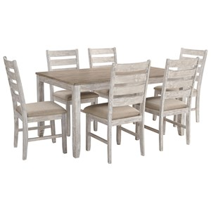 Relaxed Vintage 7-Piece Dining Set with Two-Tone Finish