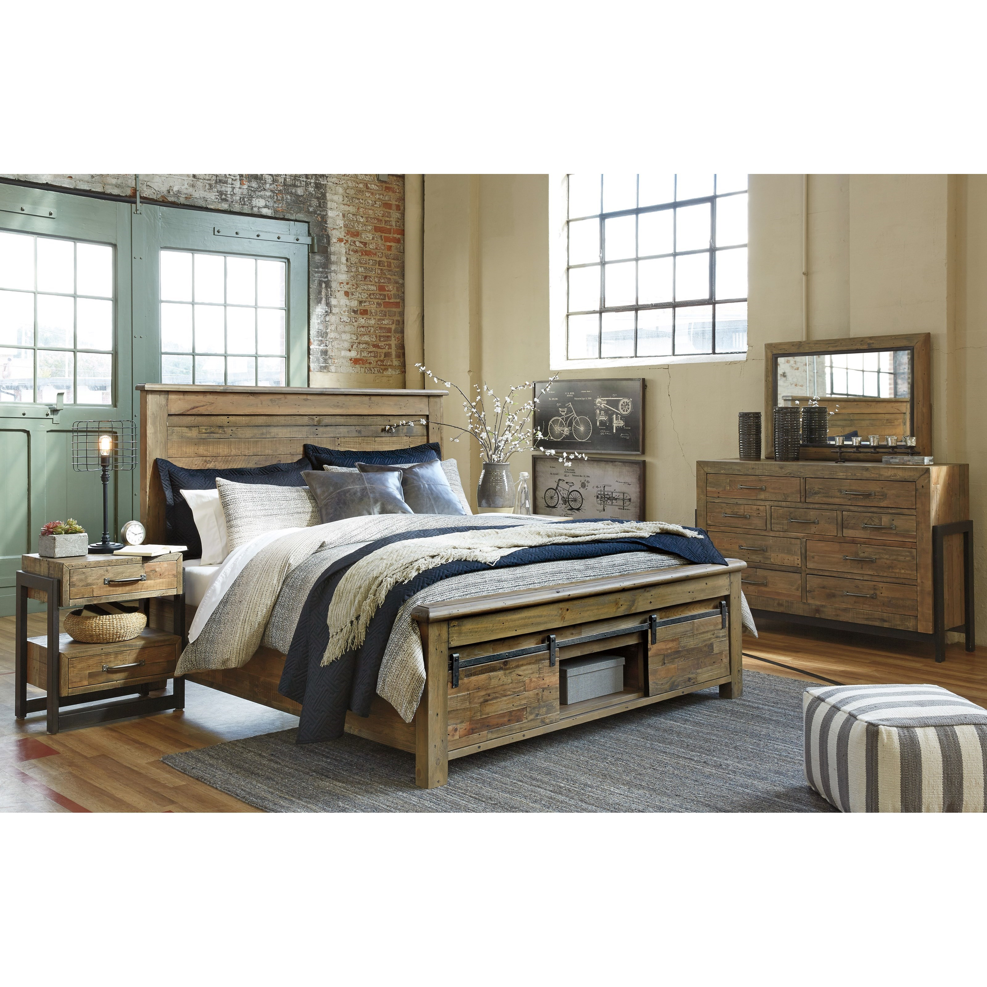 california king bedroom group by signature design by ashley wolf rh wolffurniture com King Size Panel Bedroom Set Brown King Panel Bedroom Sets