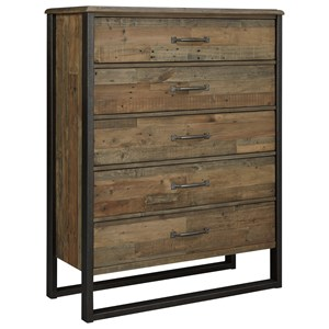 Reclaimed Pine Solid Wood Five Drawer Chest with Metal Frame