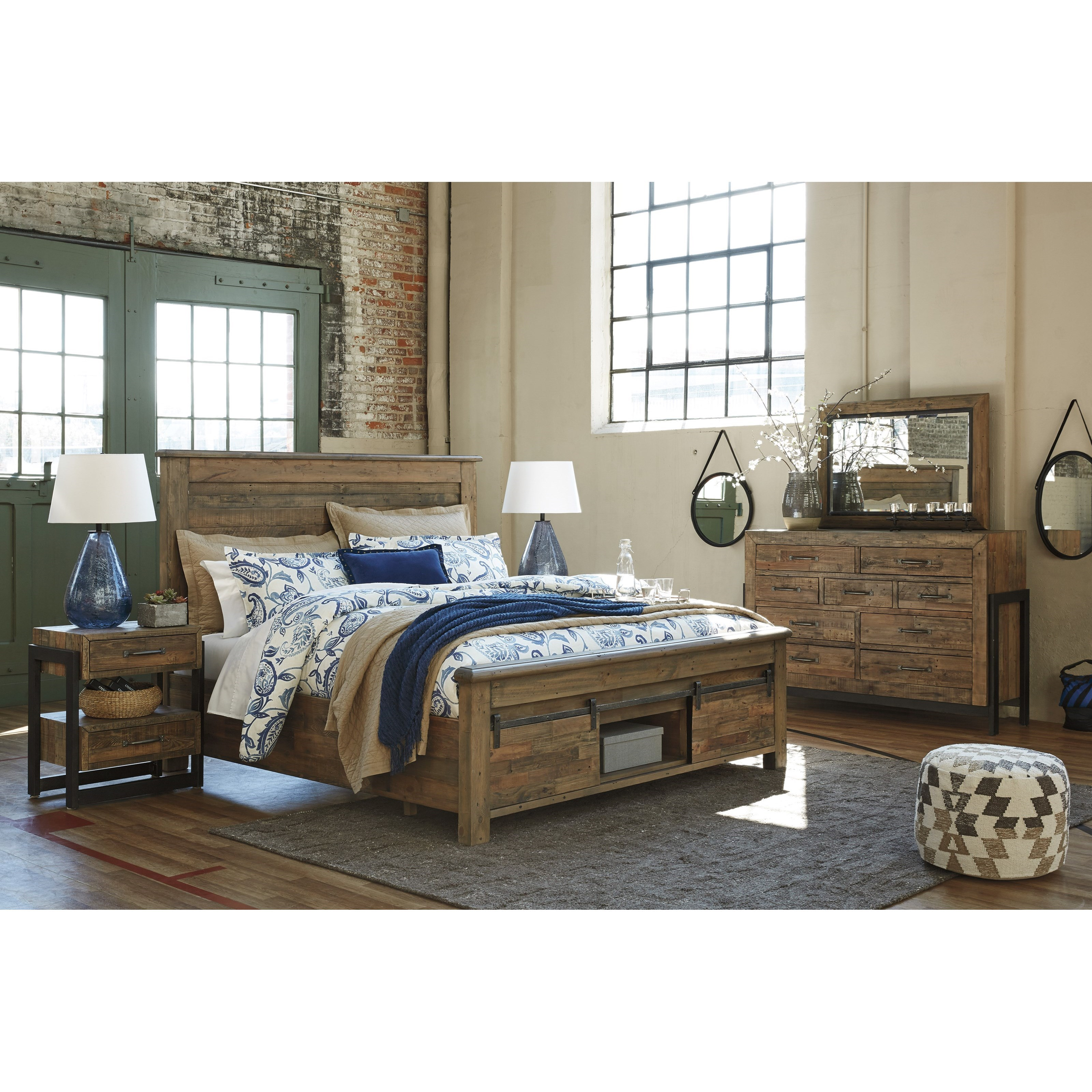 Queen Panel Storage Bed With Barn Doors By Signature Design By