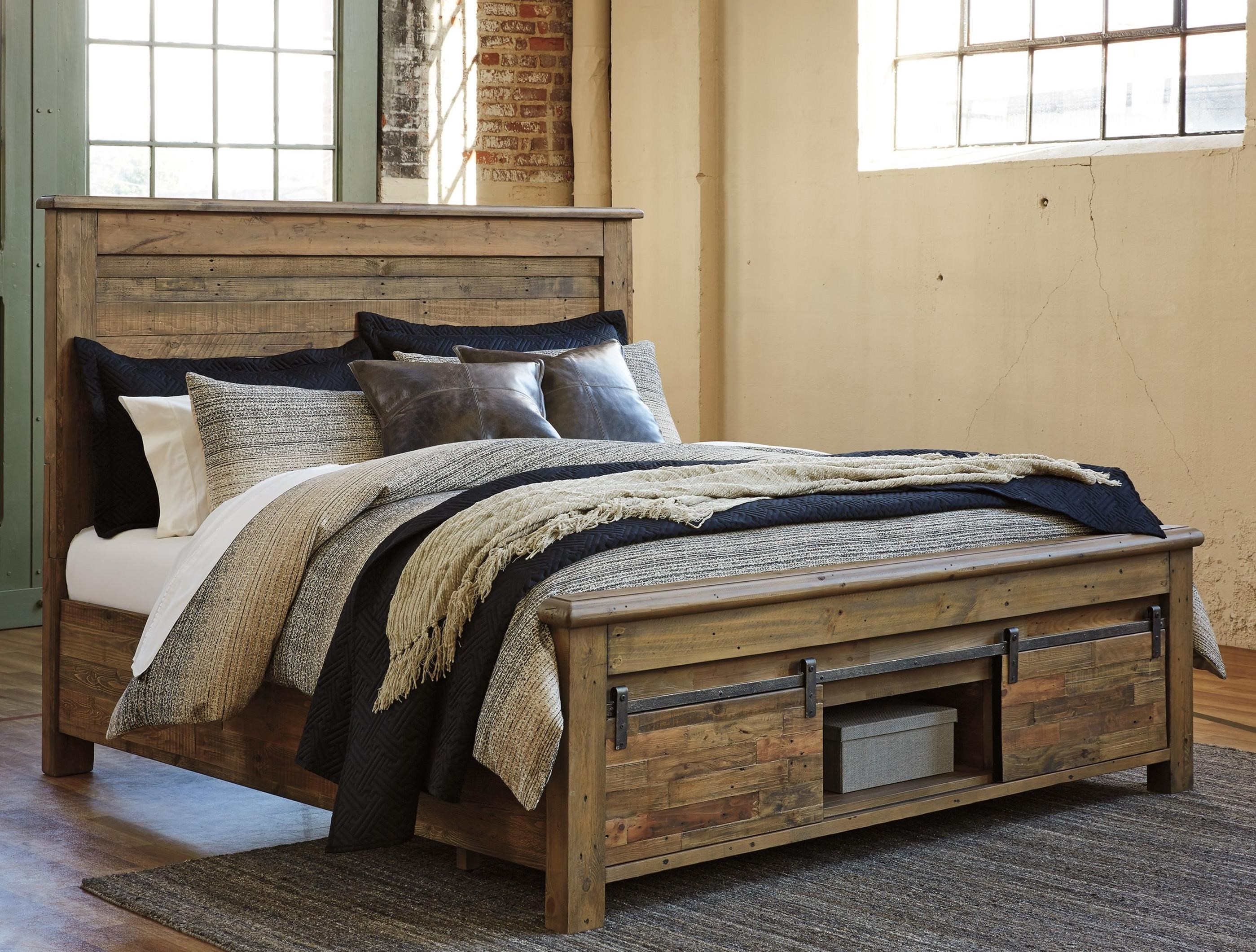 california king panel storage bed with barn doors by signature