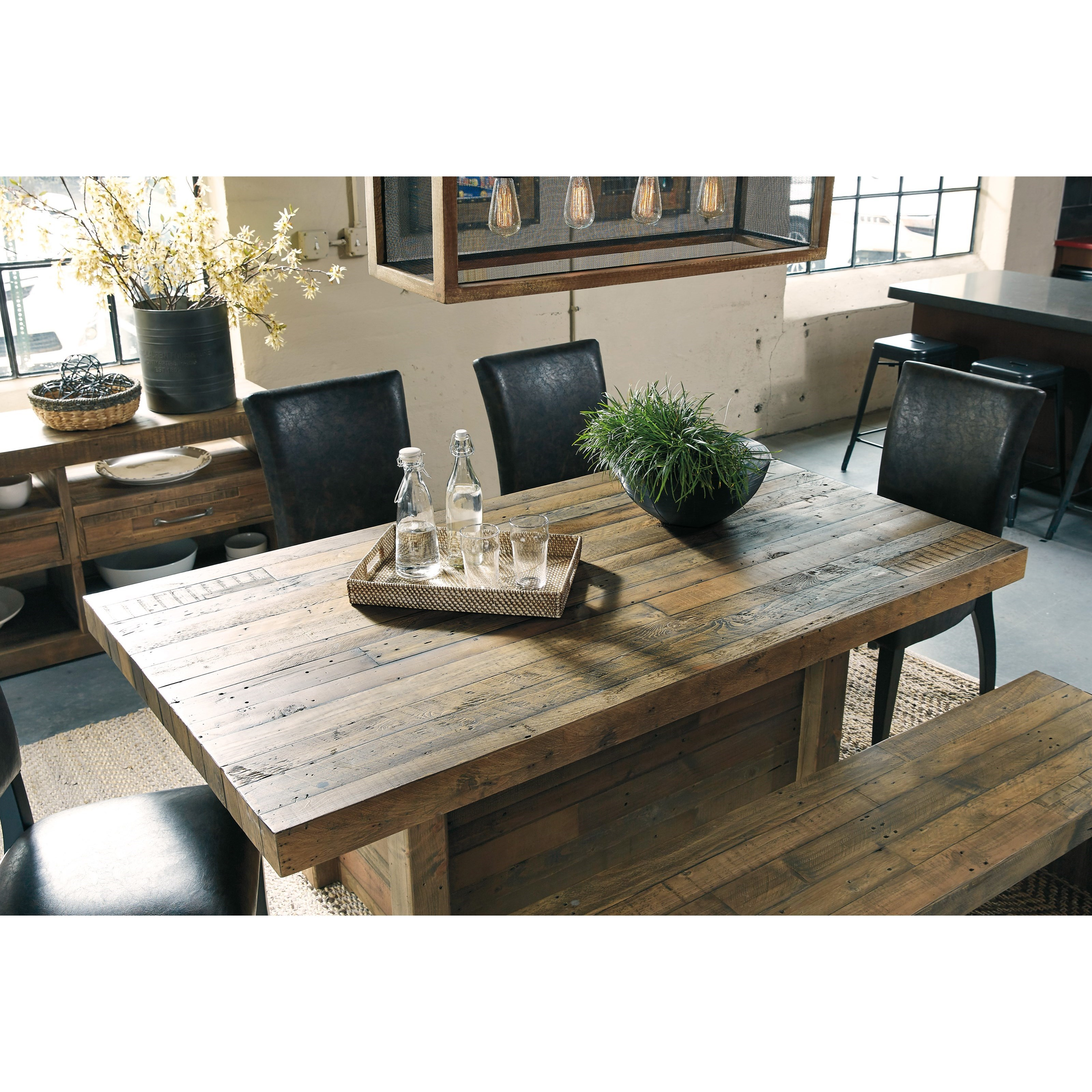 Solid Wood Reclaimed Pine Rectangular Dining Room Table By