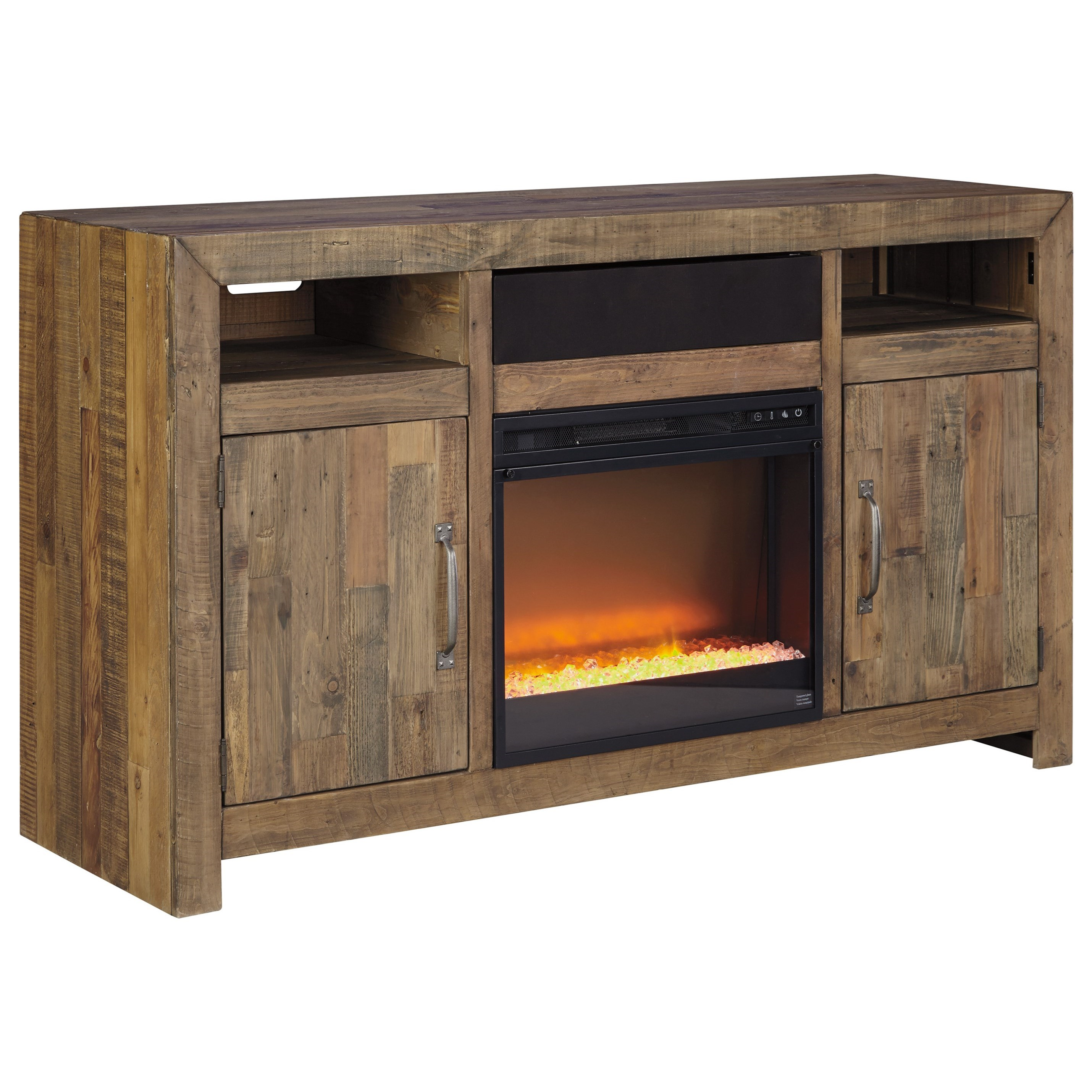 Reclaimed Pine Solid Wood Large TV Stand w/ Fireplace
