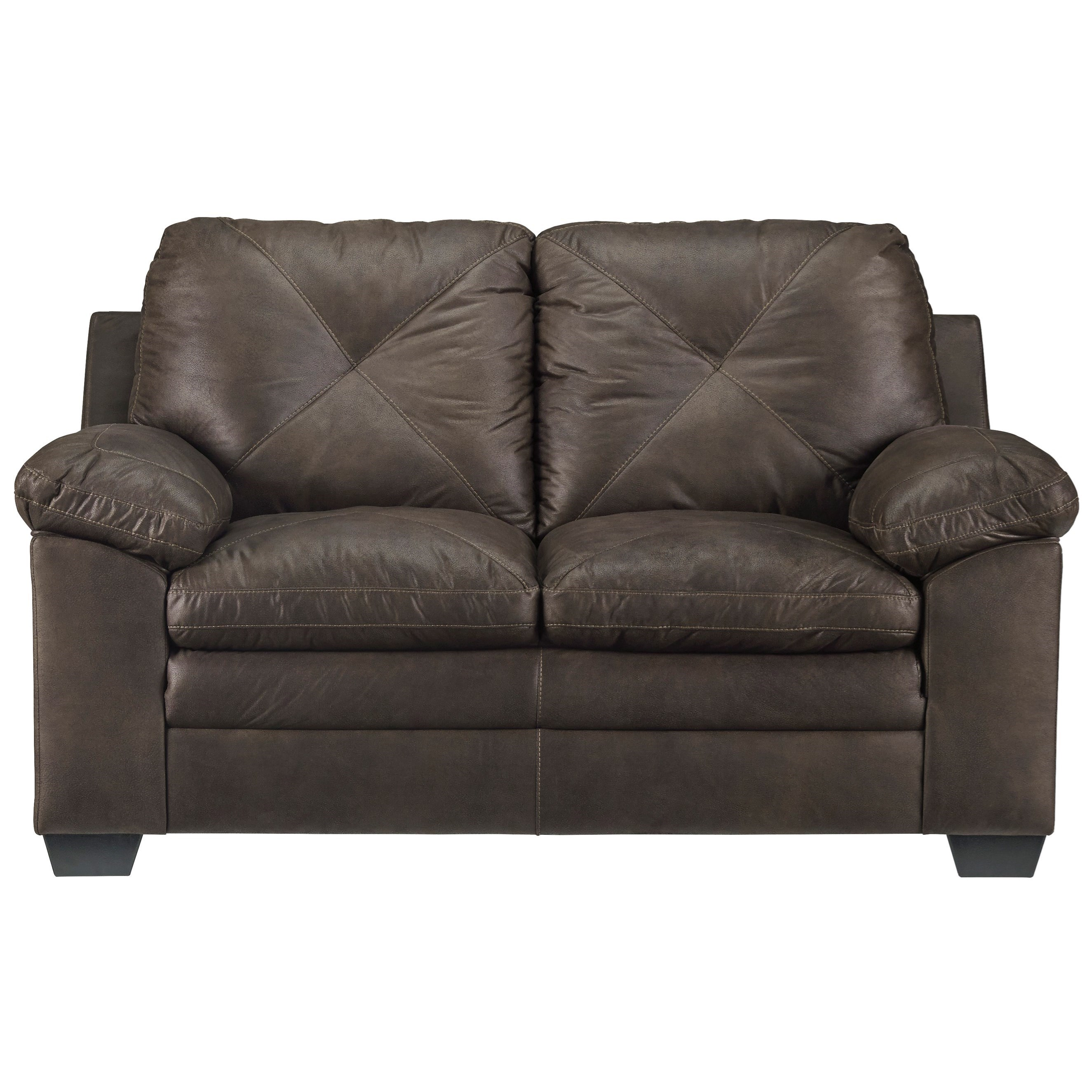 Faux Leather Loveseat With X-Back Stitching By Signature