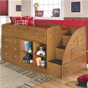 Signature Design by Ashley Stages Twin Loft Bed with Bookcase & Chest Storage