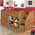 Signature Design by Ashley Stages Twin Loft Bed with Bookcase & Chest Storage - Item Number: B233-68T+13R+17+19