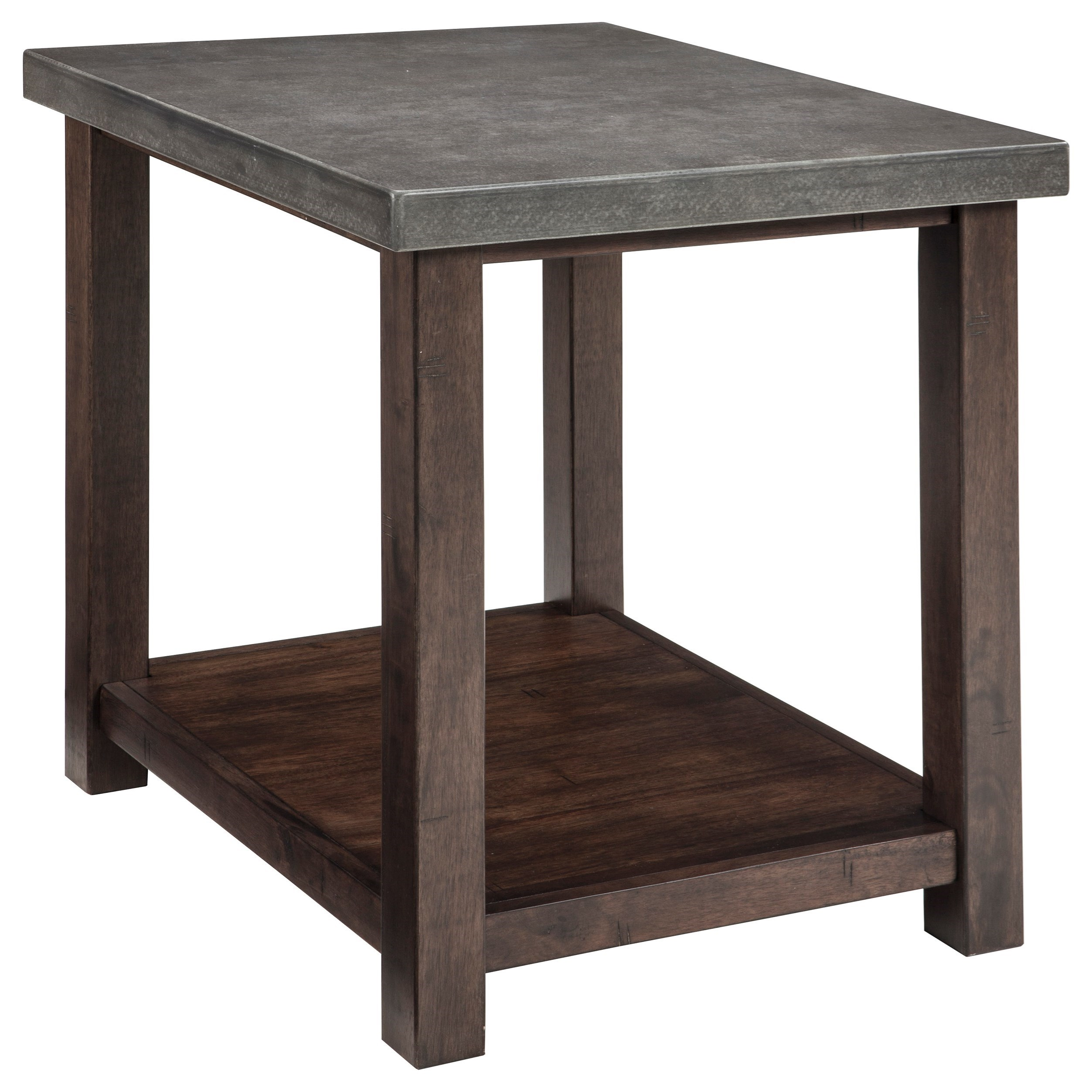 Chair Side End Table With Cast Cement Top