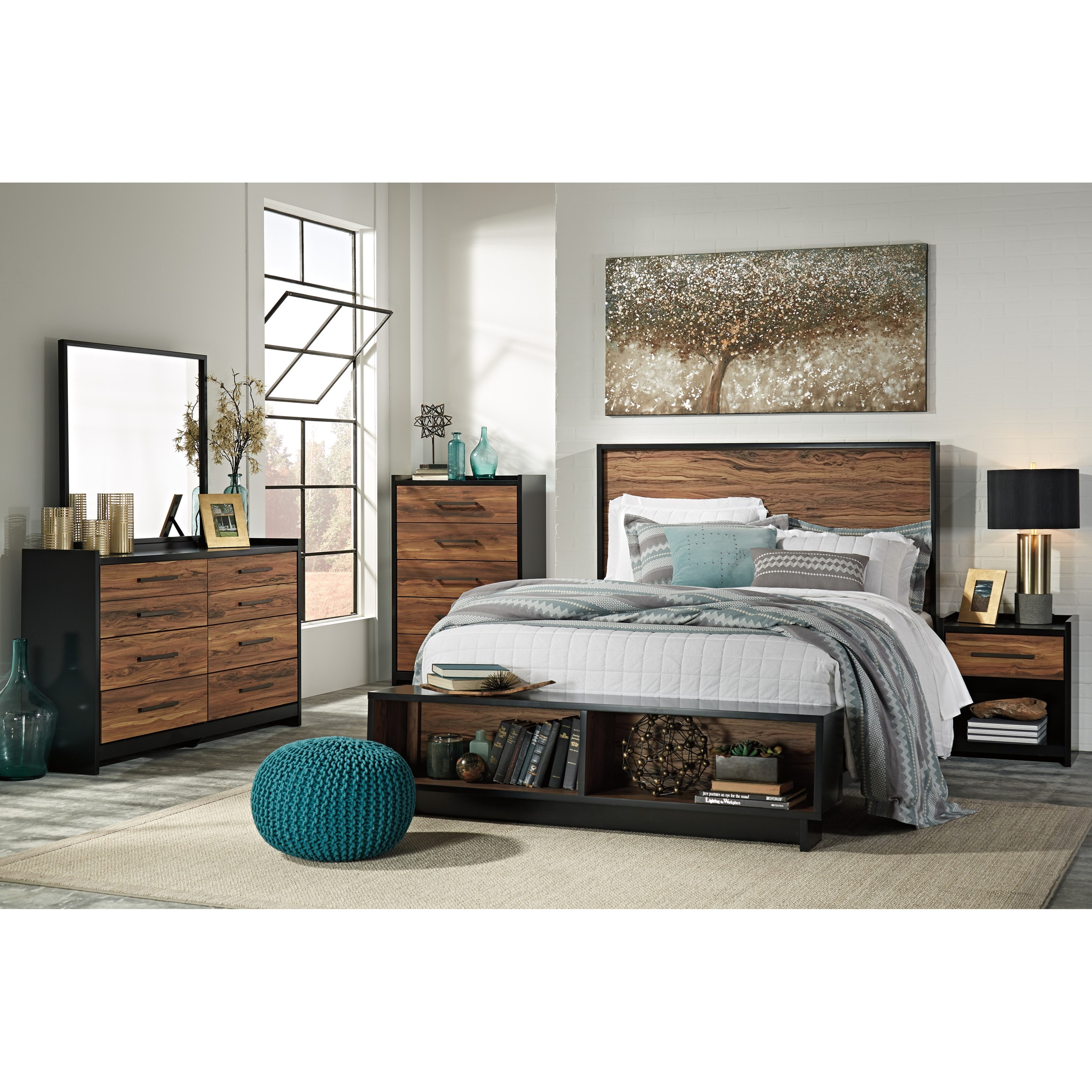 Queen Platform Bed W Storage Bench Footboard By Signature Design By Ashley Wolf And Gardiner