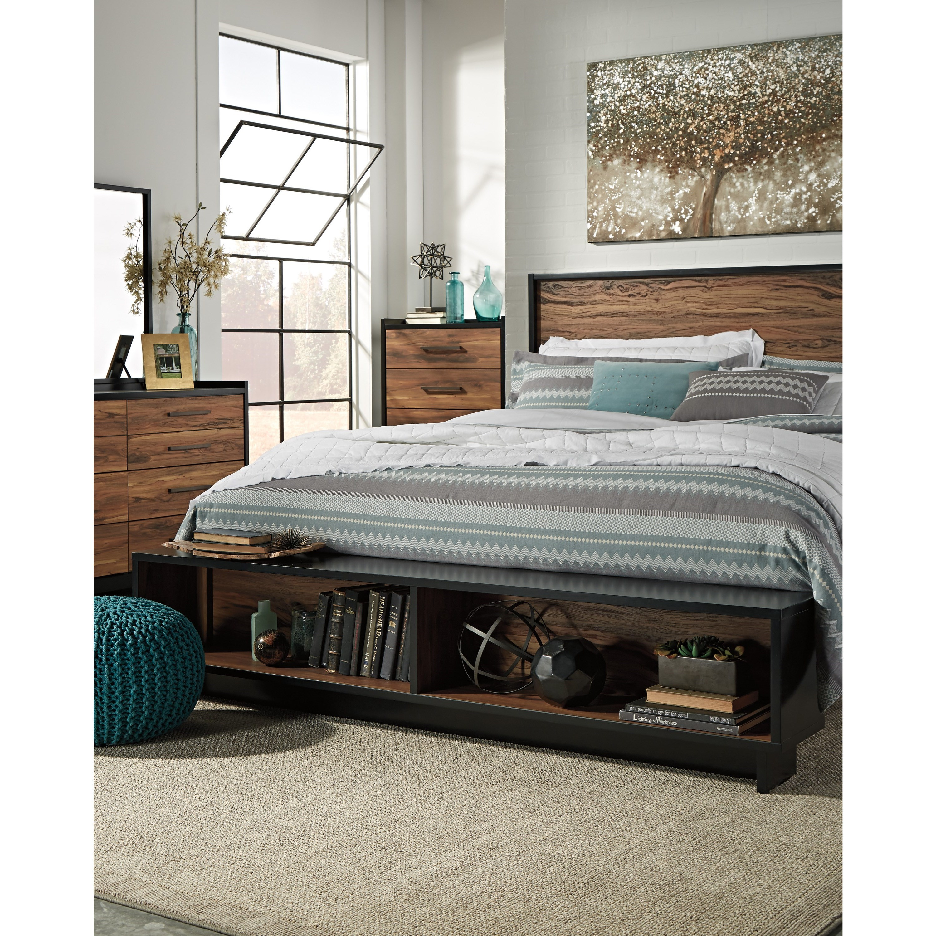 King Platform Bed W Storage Bench Footboard By Signature Design By Ashley Wolf And Gardiner