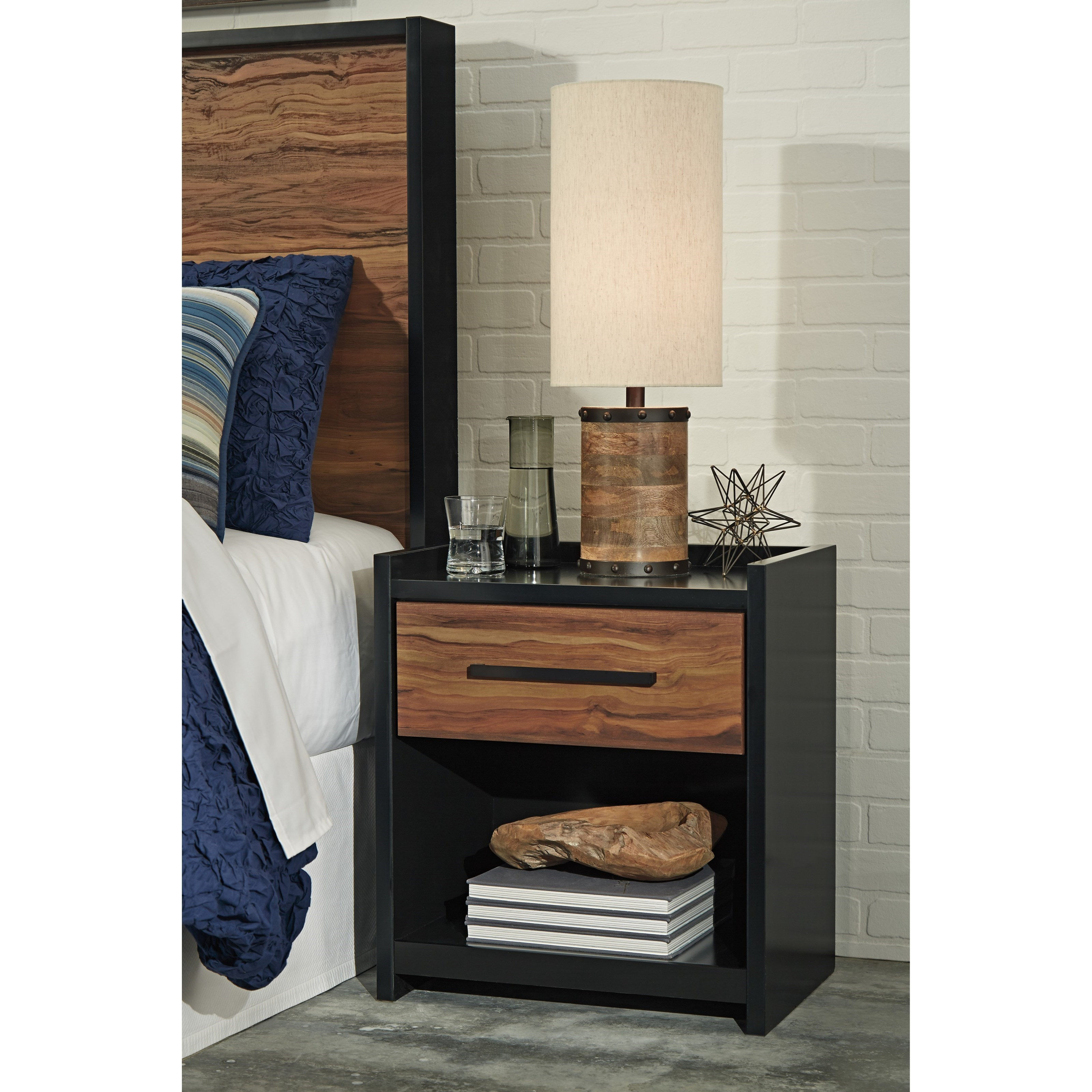 Black Cherry Finish e Drawer Night Stand with USB Chargers by