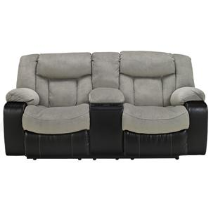 Signature Design by Ashley Tafton - Alloy Double Reclining Loveseat with Console