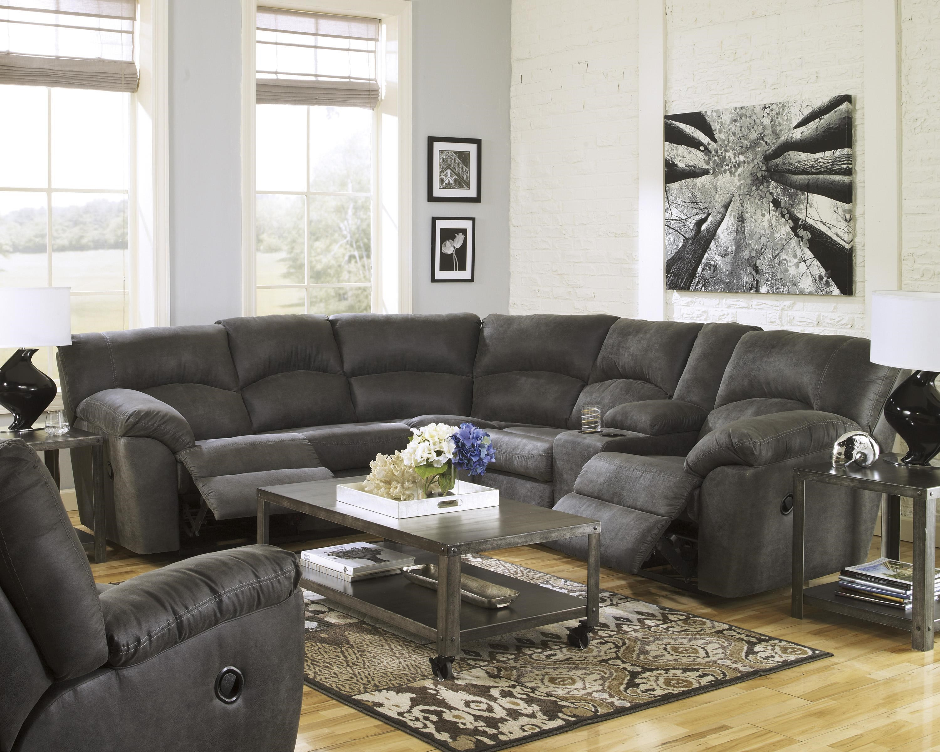 2 Piece Reclining Corner Sectional with Center Console by