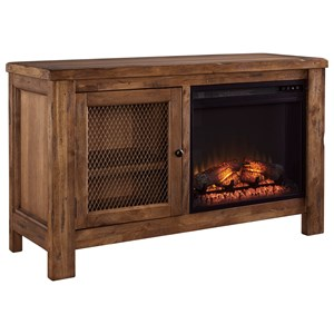 Rustic Mango Veneer TV Stand with Fireplace Insert