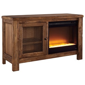 Rustic Mango Veneer TV Stand with Contemporary Fireplace Insert