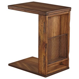 Rustic C-Shape Chair Side End Table with Wire Mesh