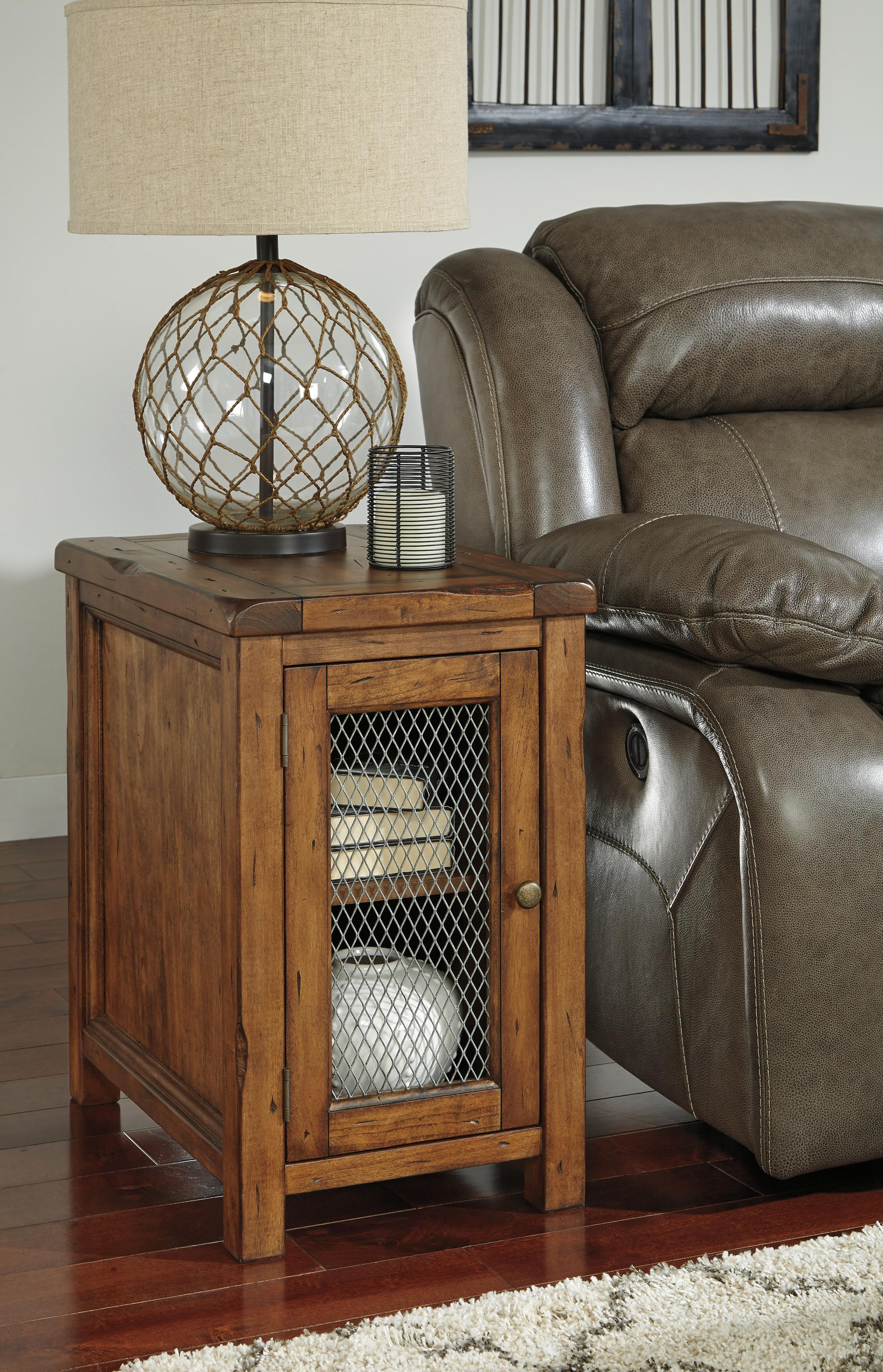 Rustic Chair Side End Table With Wire Mesh Door