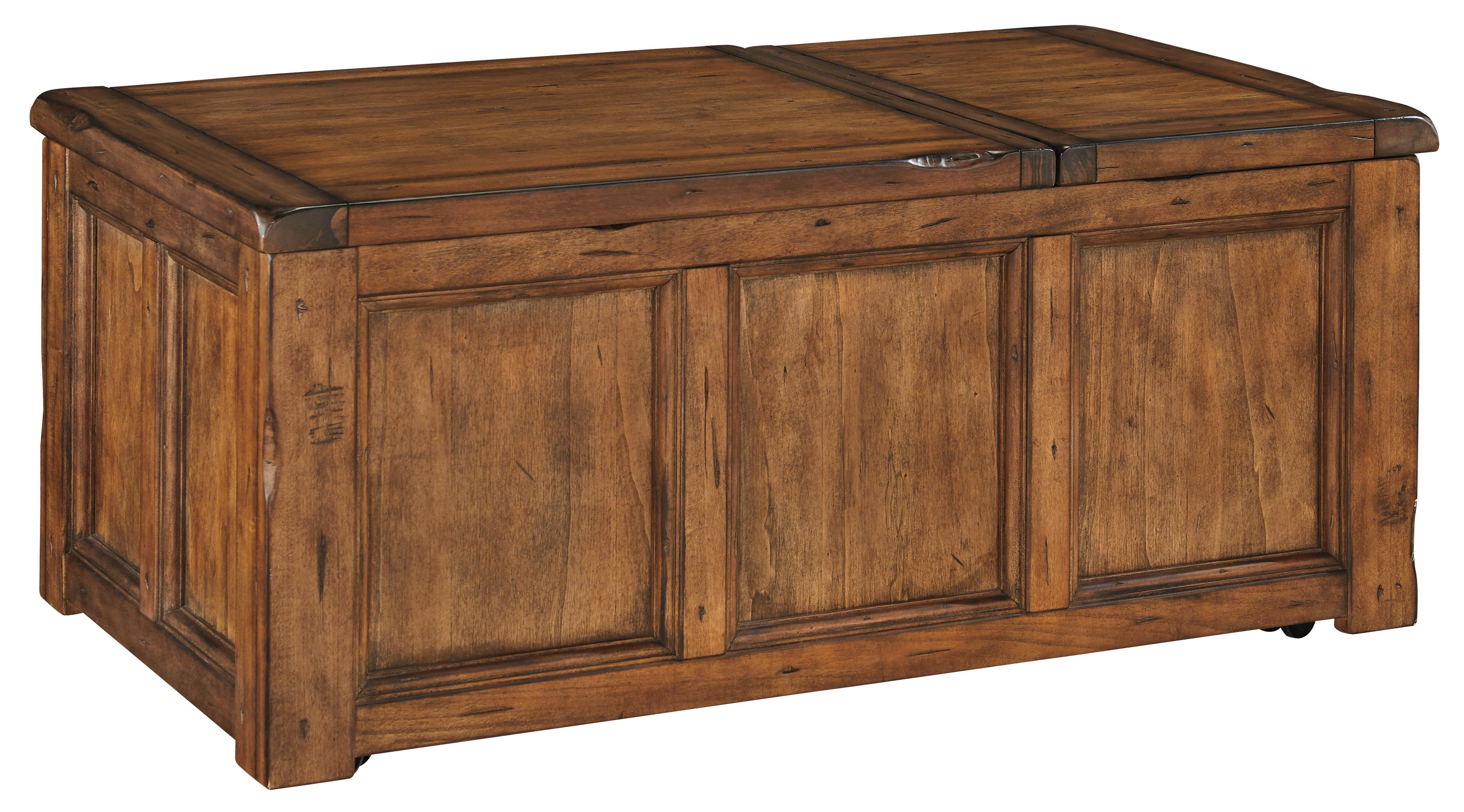 Rustic Trunk Style Rectangular Lift Top Cocktail Table With Storage And Casters By Signature