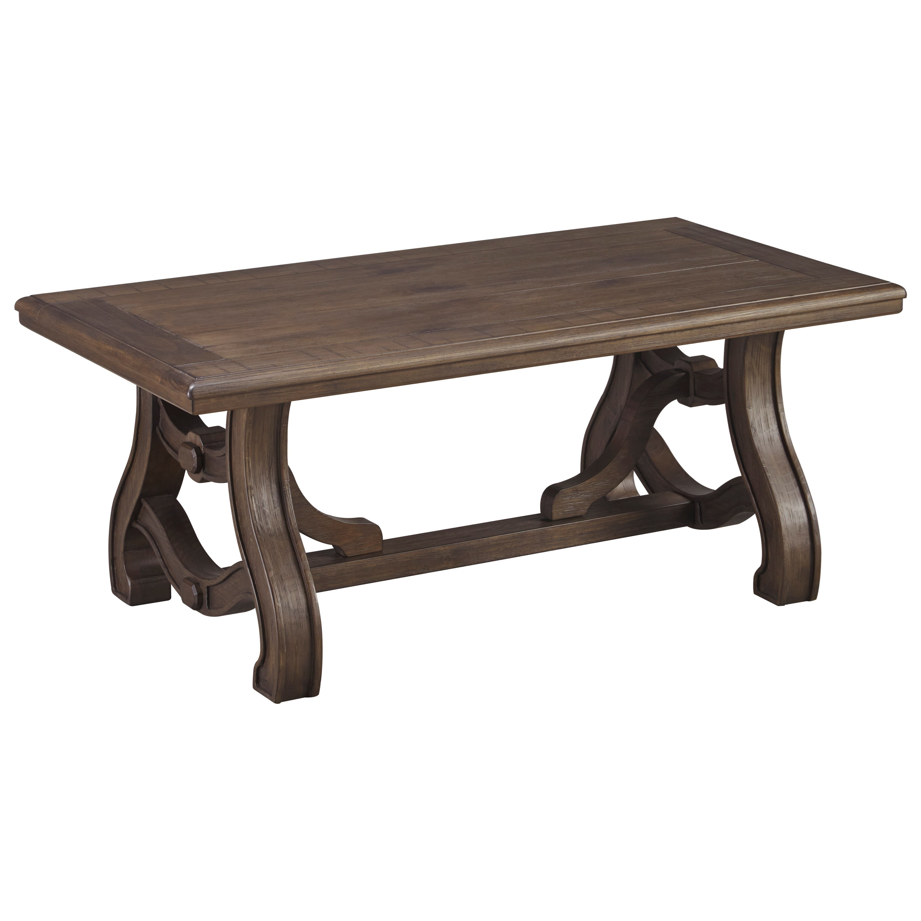 Rectangular Cocktail Table with Cottage Style Trestle Base