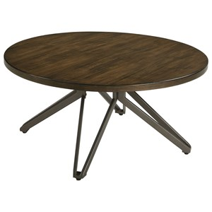 Round Cocktail Table with Unique Metal Pedestal Base