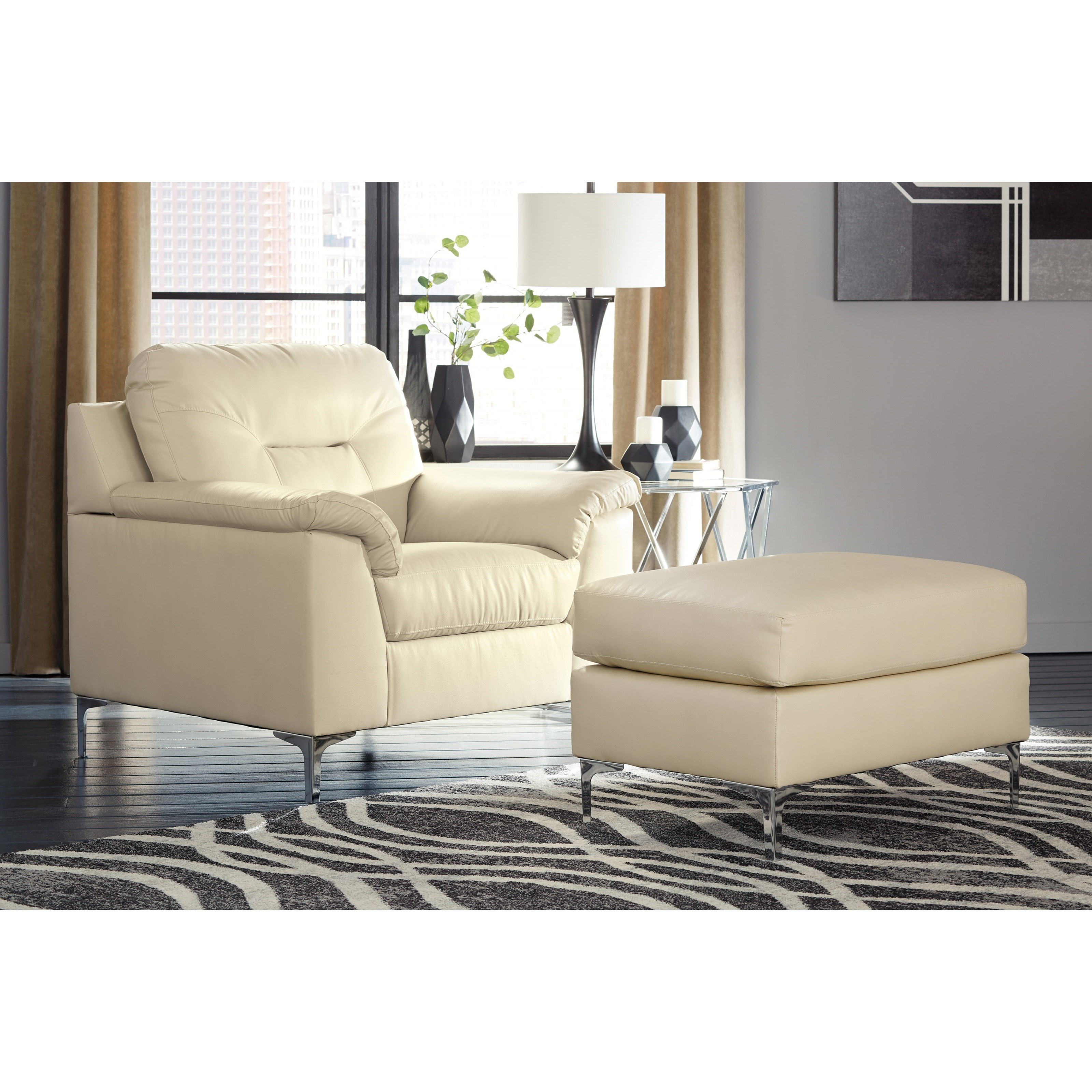 Contemporary Chair and Ottoman Set by Signature Design by Ashley ...