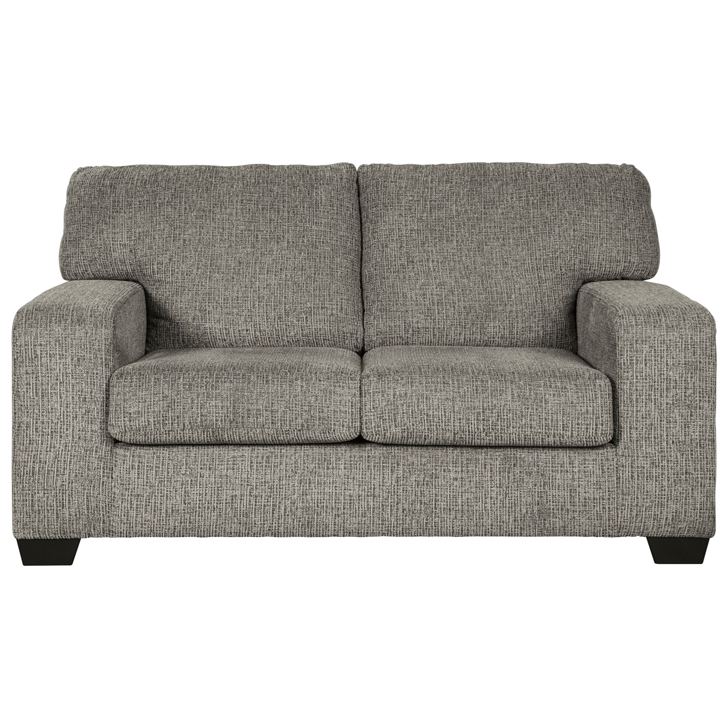 Contemporary Loveseat with Track Arms in Gray Fabric