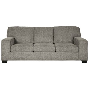 Contemporary Sofa with Track Arms in Gray Fabric