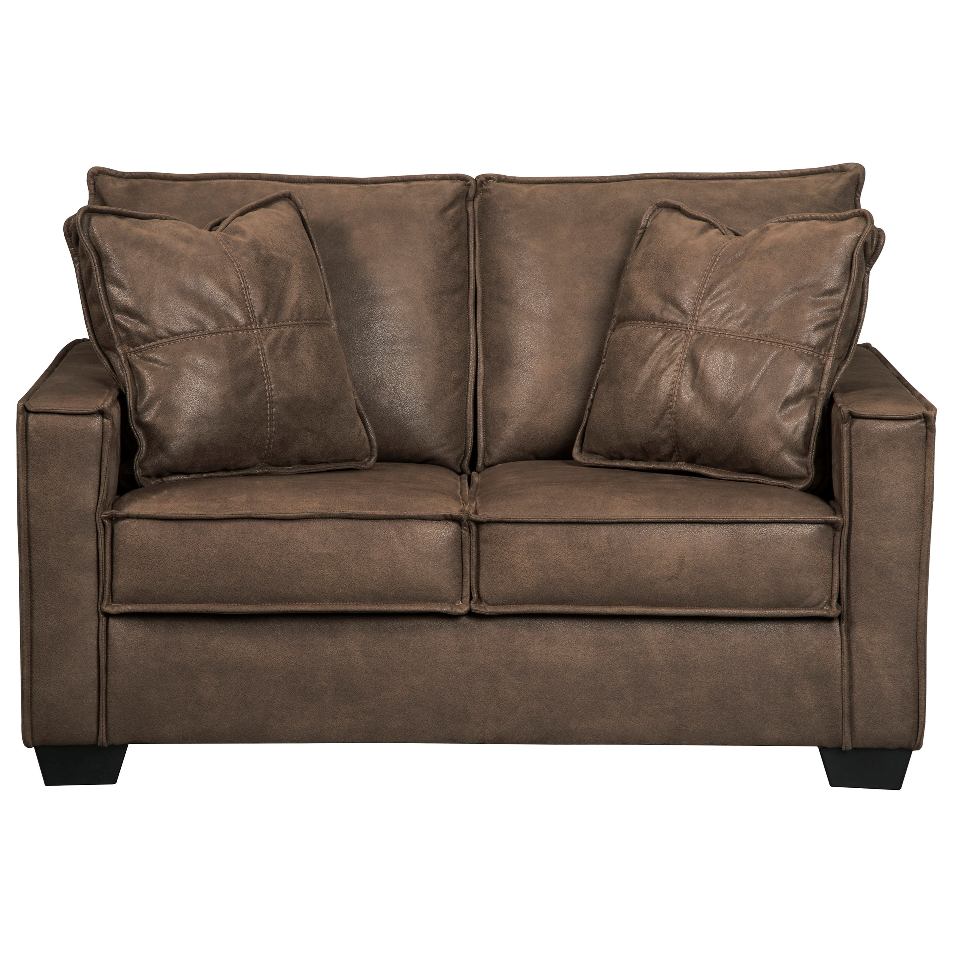 Surprising Faux Leather Loveseat With Piecrust Welt Trim By Signature Short Links Chair Design For Home Short Linksinfo