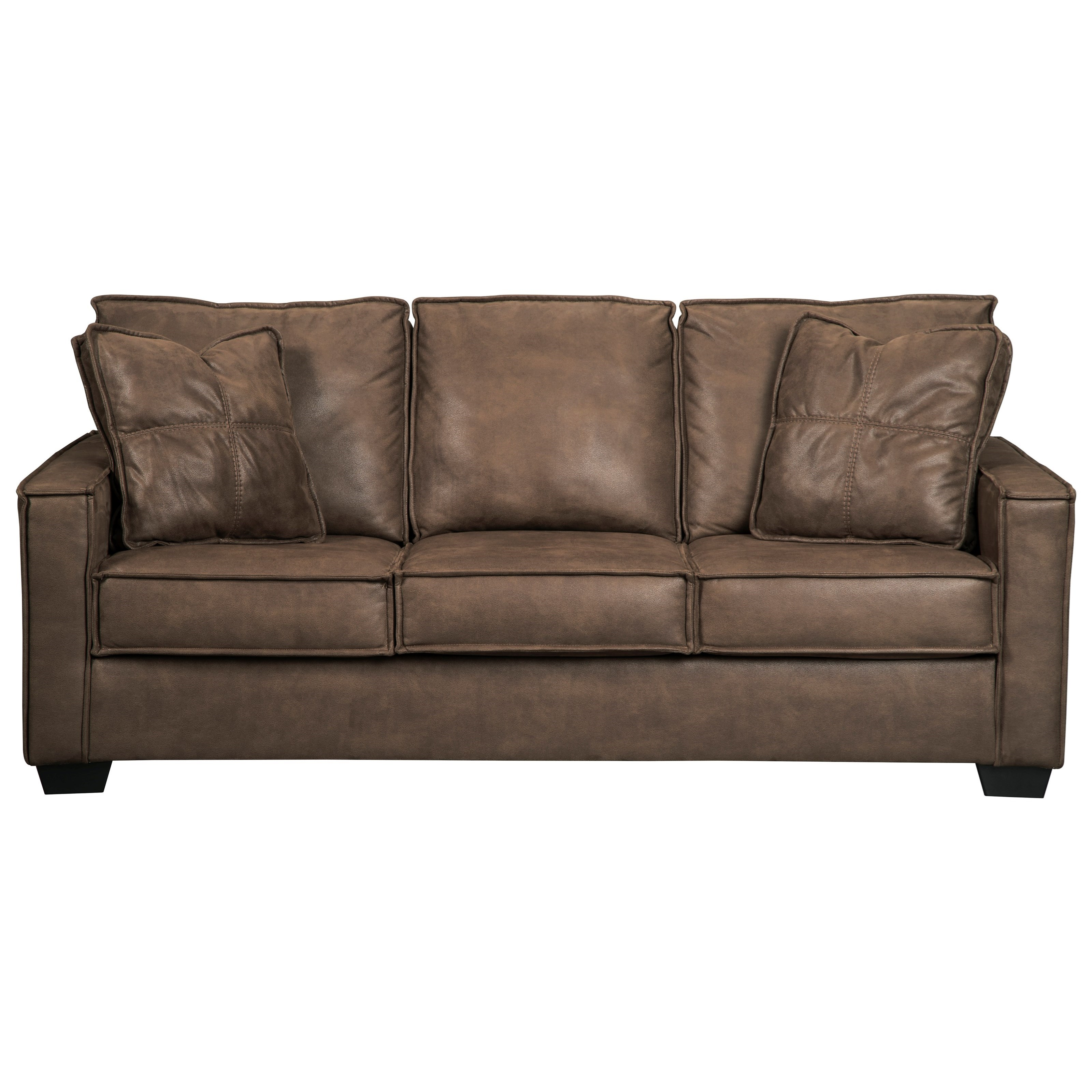 Faux Leather Sofa with Piecrust Welt Trim