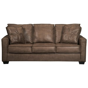 Faux Leather Queen Sofa Sleeper with Memory Foam Mattress & Piecrust Welt Trim