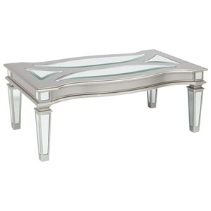 Silver Finish Rectangular Cocktail Table with Mirror Panels