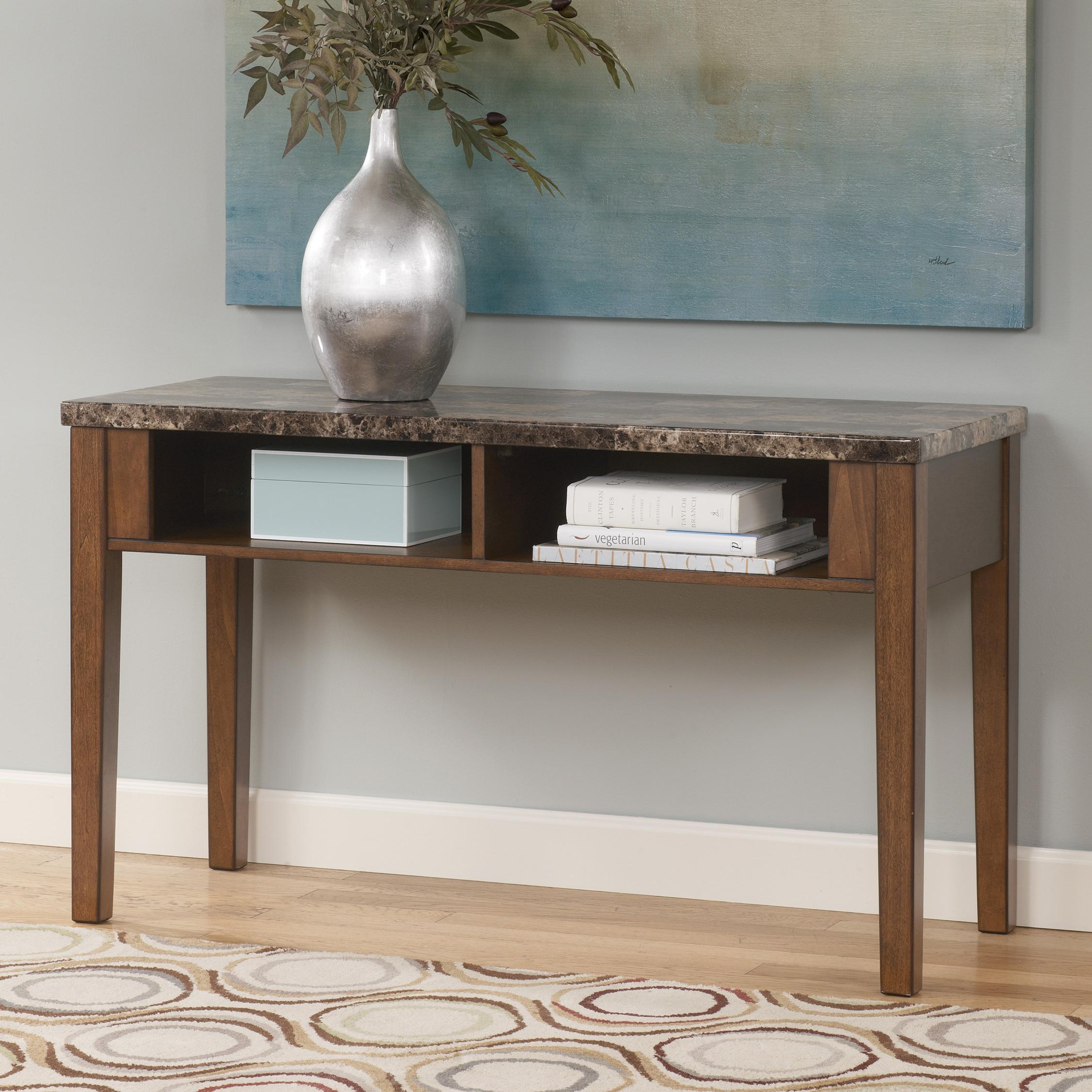 Sofa Table / TV Console with Faux Marble Top by Signature Design by ...