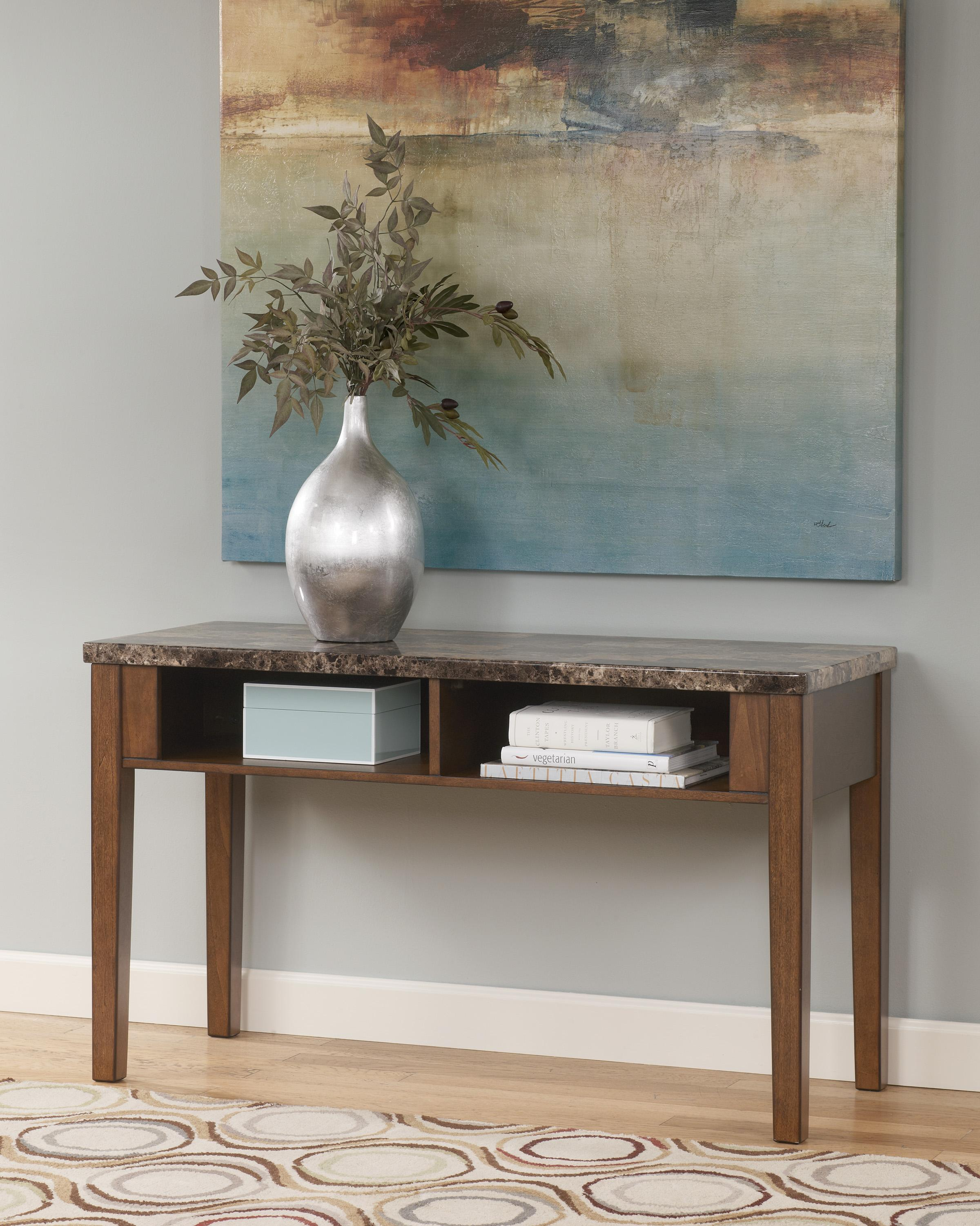 Sofa Table TV Console with Faux Marble Top by Signature Design
