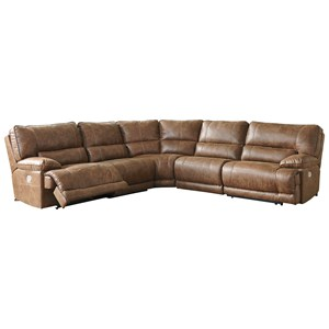 Power Reclining Sectional with USB Port and Power Headrest