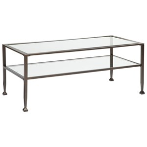 Wrought Metal Look Rectangular Cocktail Table with Clear Tempered Glass Top & Shelf