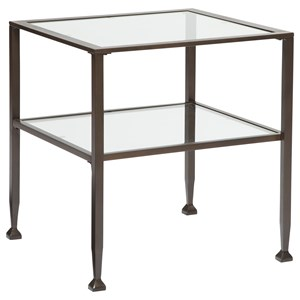 Wrought Look Metal Rectangular End Table with Clear Tempered Glass Top & Shelf