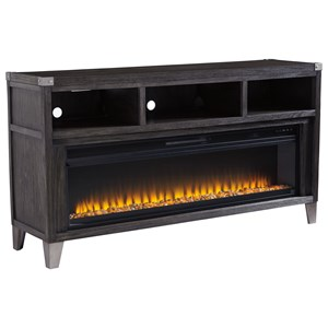 Contemporary Large TV Stand with Fireplace Insert & Metal Accents
