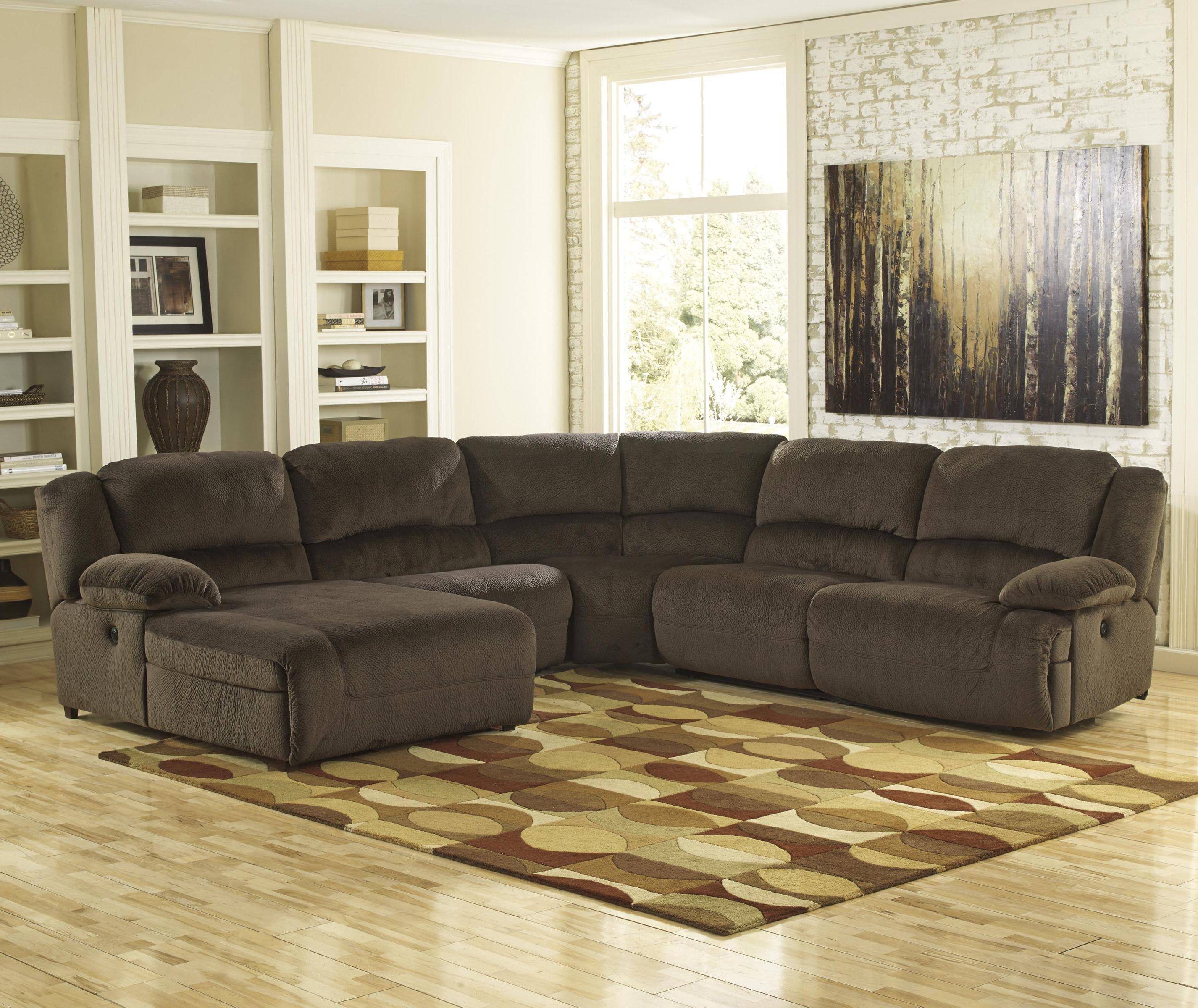 Power Reclining Sectional with Left Press Back Chaise by Signature