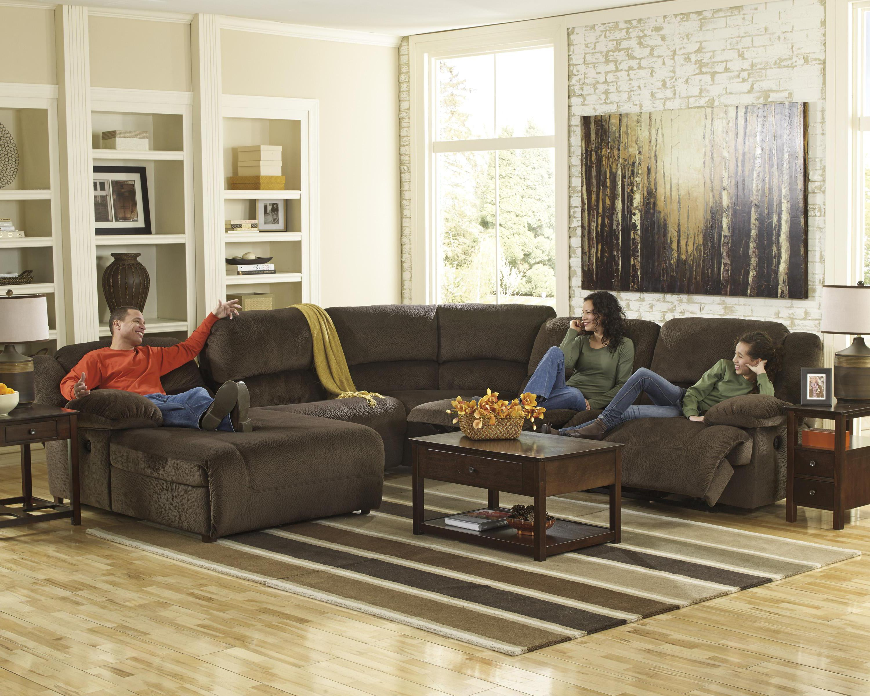 Reclining sectional with left press back chaise by for Ashley microfiber sectional with chaise