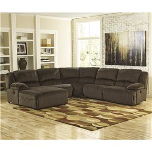 Signature Design by Ashley Furniture Toletta - Chocolate Power Reclining Sectional with Chaise