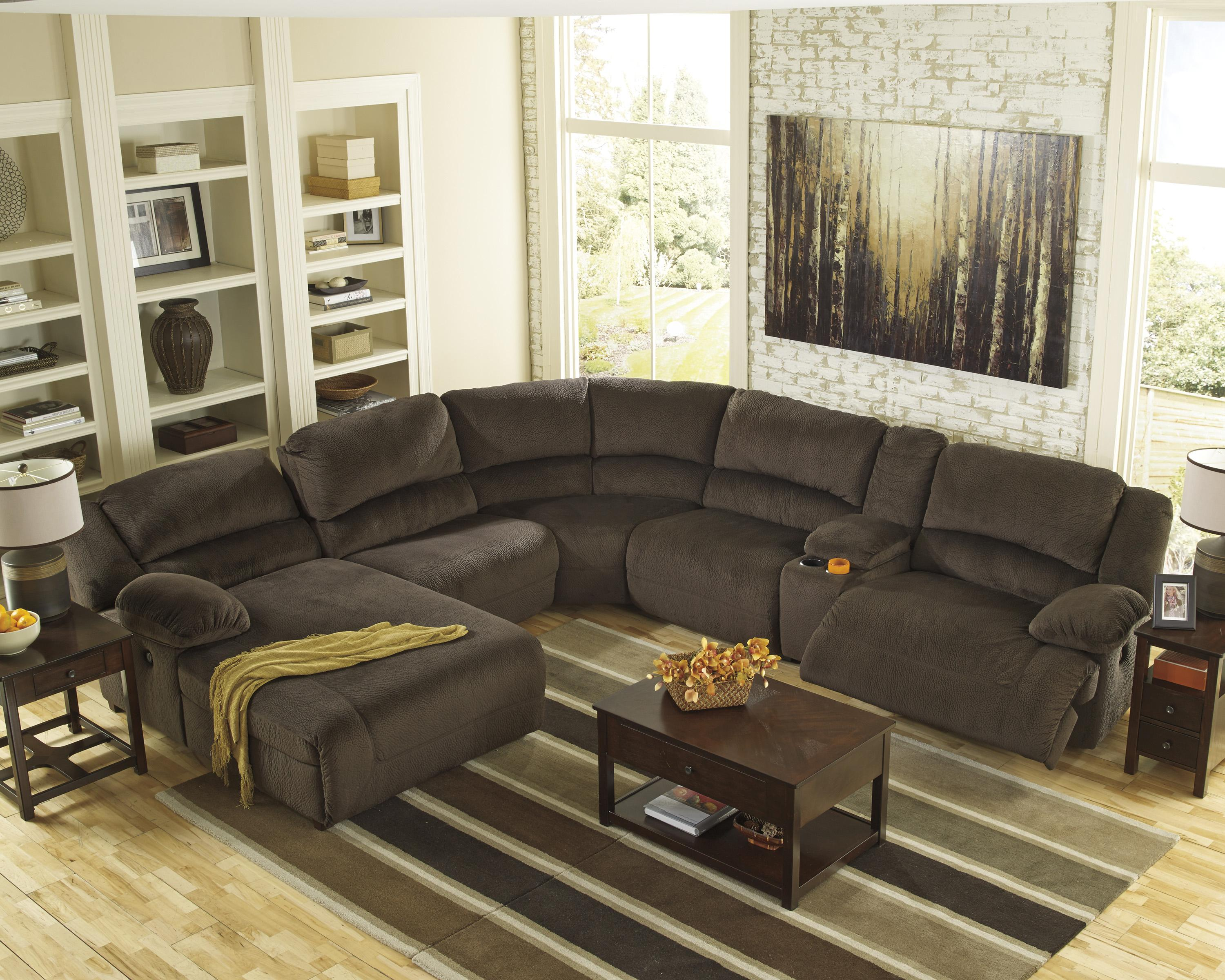 Reclining sectional with console left press back chaise for Ashley microfiber sectional with chaise
